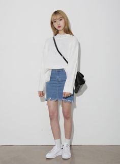 10's trendy style maker en.66girls.com! Fringed Denim Skirt (DGBB) #66girls #kstyle #kfashion #koreanfashion #girlsfashion #teenagegirls #fashionablegirls #dailyoutfit #trendylook #globalshopping