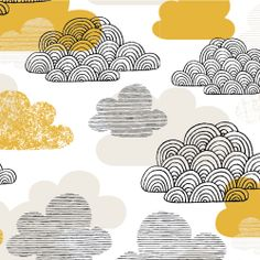 Passing Clouds   Gold :: Bark & Branch by Eloise Renouf for Cloud9 Fabrics