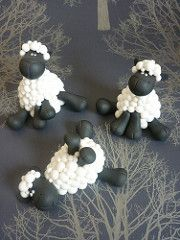 Sheep Wedding Cake Toppers I made ten of these sheep for a wedding cake. The couple's surname is Shepherd hence the sheep theme. Round Wedding Cakes, Cool Wedding Cakes, Wedding Cake Toppers, Polymer Clay Animals, Fimo Clay, Polymer Clay Projects, Sheep Cake, Sheep Fondant, Jumping Clay