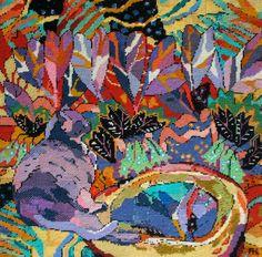 Needlepoint painting, Annie Helmericks-Louder