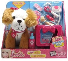 Barbie App Rific Pet Doctor Brown and White Puppy Play set NEW In Package #Barbie Pet Doctor, Animal Doctor, App Play, Dr Browns, White Puppies, Lunch Box, Barbie, Packaging, Games