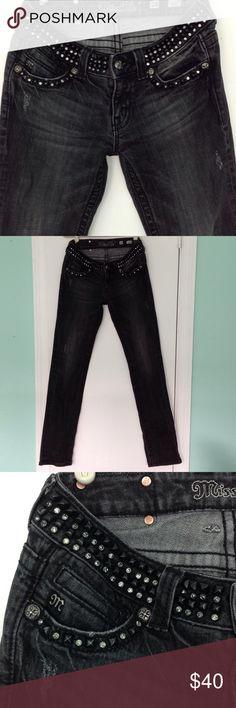 Miss Me Dark Wash Jeans Sharp, embellished, dark wash jeans. Straight leg, somewhat distressed, that look like new! 👀👍🏻 Miss Me Jeans Straight Leg