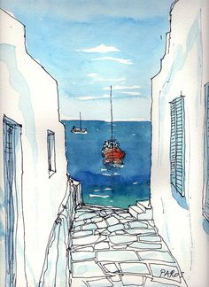 Ver línea de horizonte y perspectiva-Andre Voyy Watercolor of Greece
