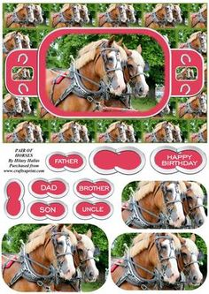 Pair of Horses on Craftsuprint designed by Hilary Hallas - An A5 card front with pyramid layers and choice of sentiment tags featuring a beautiful pair of horses. Co-ordinating insert available separately. - Now available for download!