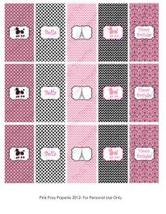 Printable Paris Poodle Birthday Mini Candy Bar Wrappers. $4.00, via Etsy.
