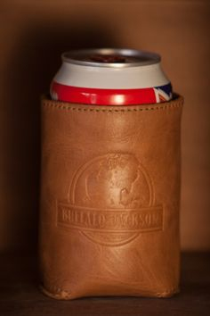 It's a LEATHER KOOZIE! And call me crazy, but leather has a high insulating factor. So, yeah, tell those foam koozies to take a hike and wrap your beverage in this leather holder.  (Also available in Walnut Brown. Shown here in Whiskey.)