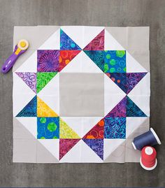 The Crown Quilt designed by Jenny of Missouri Quilt Co Star Quilt Patterns, Star Quilts, Mini Quilts, Scrappy Quilts, Stitching Patterns, Canvas Patterns, Quilt Blocks Easy, Easy Quilts, Star Blocks
