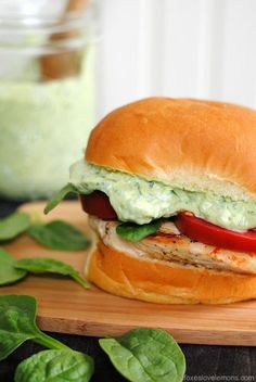Green Goddess Chicken Sandwiches. Recipe provided for a healthy and delicious green godess sauce.