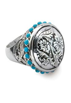"Bansela Class Act Rosette Dome Ring... With a hint of nostalgic western, this rosette patterned dome is surrounded with delicate drops of genuine turquoise. Silver overlay. Top is 1"" round."