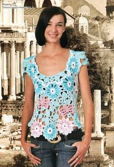 Crochetemoda: Blusas de Crochet...A fabulously flowered top! No written pattern; but a free diagram!
