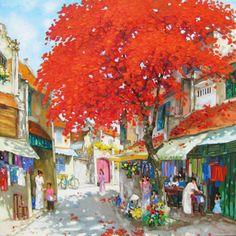 Streetscene in Summer by Vietnamese Artist Lam Manh