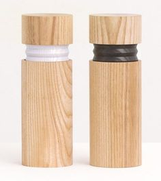 Vitamin Product Releases salt and pepper shakers - natural essentials - practical Salt And Pepper Mills, Salt And Pepper Grinders, Chip Packaging, Charles Ray Eames, Lighting Concepts, Crystal Decanter, Id Design, Vintage Design, Wood Turning