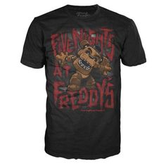 Five Nights at Freddy's Freddy Fazbear Black T-Shirt - Funko - Video Games - T-Shirts at Entertainment Earth