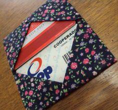 Porta Cartão de Origami em Tecido. Somente com dobradura. R$11,50