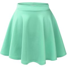 LE3NO Womens Basic Versatile Stretchy Flared Skater Skirt ($15) ❤ liked on Polyvore featuring skirts, bottoms, faldas, saias, fitted skirts, flared skater skirt, knee length flared skirts, layered skirt and green skirt