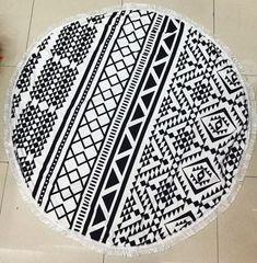 """Black & White Geometric"" Round Microfiber Beach Towel & Picnic Blanket"