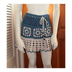 Mini Skirt: Woman's Drawstring Ruffled Crochet Tiered Short Skirt - Strapless Top - Capelet in Blue & White - Size 4-6  'CECILY'