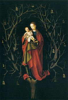 """""""Our Lady of the Dry Tree"""" by Petrus Christus.  The painting contains a unique set of symbols found nowhere else in the history of art, and involves a secret Renaissance brotherhood whose existence, before the decoding of this painting, was all but unknown."""
