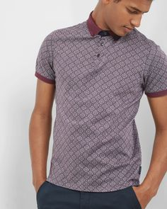 Ted Baker Geo print cotton polo shirt Red