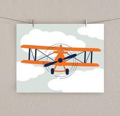 Items similar to Airplane Decor - Boy Nursery Art Print - Orange & Navy blue on Etsy
