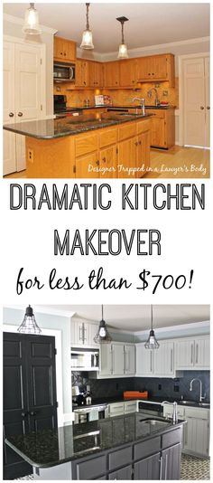 I LOVE this updated kitchen! Budget kitchen remodel by Designer Trapped in a Lawyer's Body. Totally transformed with PAINT! Budget Kitchen Remodel, Kitchen On A Budget, Kitchen Redo, Kitchen Cabinets, Kitchen Makeovers, Kitchen Hinges, Kitchen Ideas, Ranch Kitchen, Long Kitchen
