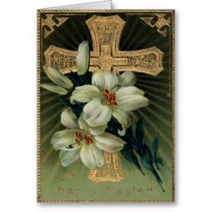 Christian Gold Cross Easter Lily Greeting Card