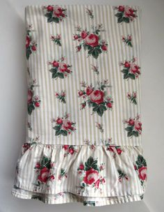 Ralph Lauren Marselles Stripe Queen Flat Sheet - Ruffled Hem - Roses on Tan Stripes - Shabby Chic - Country Cottage - Vintage Bedding by shabbyshopgirls on Etsy