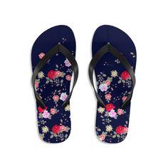 Navy Blue Floral Rose Print Unisex Flip-Flops Beach Pool Cute Sandals- Made in USA   Heidi Kimura Art LLC Floral Flip Flops, Beach Flip Flops, Floral Sandals, Cute Sandals, Designer Flip Flops, Floral Print Shoes, Flip Flop Shoes, Womens Flip Flops, Beach Shoes