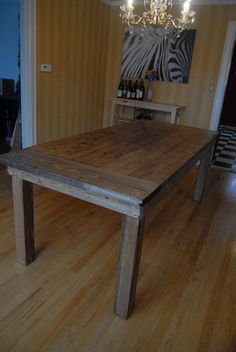 definitely building ana white's farmhouse table - I want a chair on each end two on one side and a bright backless bench that slides totally under on the back that faces my sliding door.