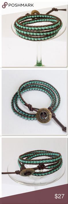 "Handmade 3 Wrap Bracelet A beautiful 3X wrap bracelet made in Chan Luu style with 6.0 Czech Glass Seed Beads in Turquoise Luster.  Each bead is hand stitched to 1.5 mm brown leather cord .  A decorative Button is used for closure and adds a beautiful accent. Two loops offer adjustable closure. Finished length to first loop is 21 "" and 22"" to second loop - Width of each Wrap is 1/4"" -Extra loop can be snipped off if not needed. PRICE FIRM ON HANDMADE ITEMS Handmade Jewelry Bracelets"