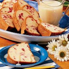 Cranberry-Orange Pound Cake Recipe:  My aunt made this for me this past holiday season and it was DELICIOUS!!!  :)  Thanks, Rara!