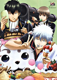 "Gintama. Okita's just like ""Die, Hijikata"" as Hijikata coats everything in mayo. Gintama..."