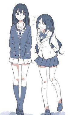 anime school Drawing Of Girls Friends Kawaii 49 Ideas Manga Girl, Chica Anime Manga, Anime Art Girl, Anime Guys, Anime Girlxgirl, Anime Girl Drawings, Art Drawings, Anime Best Friends, Friend Anime