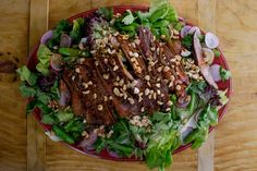 Spicy Steak Salad with Sriracha Dressing.