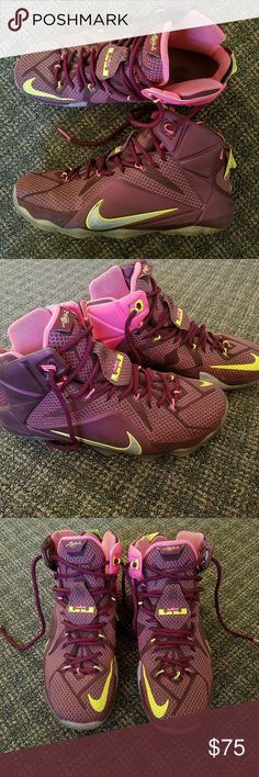 Nike Lebron XII 12 Double Helix Basketball Shoe Men's Nike Lebron James XII 12 Shoes DOUBLE HELIX Merlot Volt Sz 10M 684593-607  Excellent Condition! See pictures!  Message me with any questions!  Thanks for looking! Nike Shoes Athletic Shoes