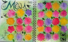 I always love her calendar journal pages...so creative...and appropriate for the month they represent.    LINDA KITTMER'S FIBRE ART, PHOTOGRAPHY & JOURNALLING: May Art Calendar Journal