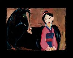 """""""Mulan and Kahn"""" by Jim Salvati - Limited Edition of 30, Chiarograph on Paper, 18 x 22.5."""