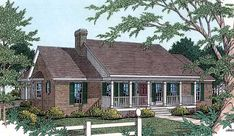 Country Style House Plans - 2000 Square Foot Home , 1 Story, 3 Bedroom and 2 Bath, 2 Garage Stalls by Monster House Plans - Plan