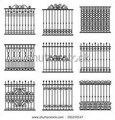 vector decorative fences set - stock vector