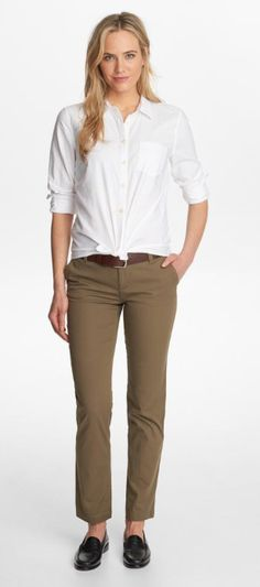 Girls Loafers, Loafers For Women, Khaki Pants, Beautiful Women, Classy, Woman, Fashion, Khakis, Moda