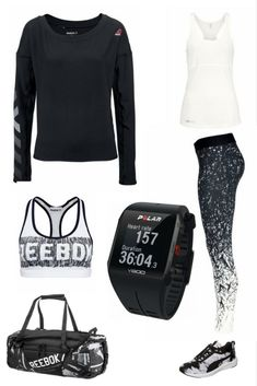 Fitness-Outfit für Frauen - The gym is waiting - mit Funktions-Leggings, Trainingsschuhen, Multisportuhr, Langarmshirt, Fitness-Sport-Tasche, Fitness-Top, Sport-Bra