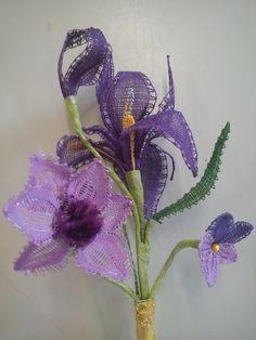 Bobbin Lace Patterns, Flower Patterns, Crochet Patterns, Iris Art, Bobbin Lacemaking, Types Of Lace, Needle Lace, Lace Making, Antique Lace