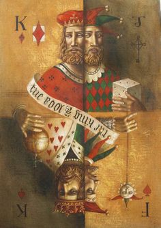 """Act I scene v Fool:Thou shouldst not have been old till thou had been wise. [Jake Baddeley """"King & Fool"""" Oil on canvas, Mechanical Horse, Psy Art, Cool Paintings, The Fool, Altered Art, Paper Dolls, Alice In Wonderland, Illustrators, Oil On Canvas"""