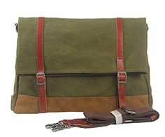 Muchuan Men's Canvas Farbic Buckle Messenger Bag Shoulder Bag,Green Material:canvas farbic and genuine leather Internal structure:cell phone pocket,interior zipper pocket. Canvas Messenger Bag, Messenger Bag Men, Satchel, Crossbody Bag, Bags 2017, Vintage Canvas, Canvas Shoulder Bag, Green Bag, Military Green