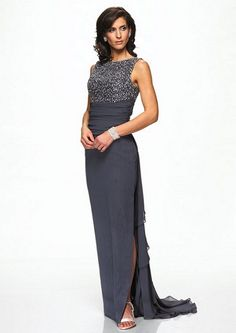 6. Beaded Bodice Mother of the Bride Dress…    Photo Credit This beautiful mother of the bride dress would be perfect for a mom who wants to look conservative but still feel modern and …