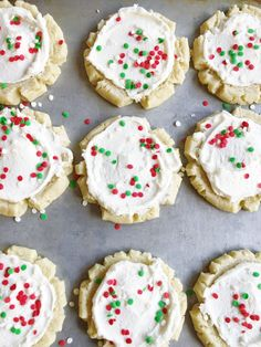 Soft and buttery sugar cookies with a swirl of white peppermint buttercream in the middle - the perfect holiday cookie for your family. Buttery Sugar Cookies, Christmas Food Treats, Holiday Cookies, Peppermint, Christmas Time, Plum, Sweet Treats, Merry, Gluten Free