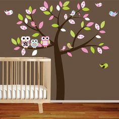 Vinyl Wall Decal Stickers Owl Tree Set Nursery by wallartdesign, $89.99 ~ I could paint this, so easy and cute!!