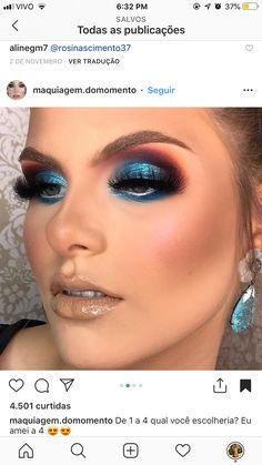 Dramatic turquoise blue smokey eyeshadow look Make Up, Maquillaje