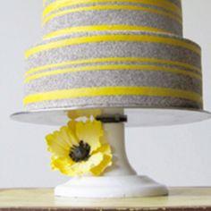 Yellow and gray cake