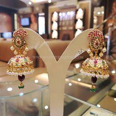 Gold Pearl Jhumka Models, Gold Pearl Jhumka Designs, 22K Gold Pearl Jhumka Collections.